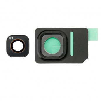 For Samsung Galaxy S7 Active SM-G891 Rear Facing Camera Lens with Bezel Replacement - Black - Grade S+
