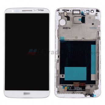 For LG G2 VS980 LCD Screen and Digitizer Assembly with Front Housing Replacement (No Small Parts) - White - With Logo - Grade S+