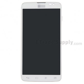 For LG G Pro Lite Dual D685 LCD Screen and Digitizer Assembly with Front Housing Replacement - White - With Logo - Grade S+