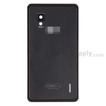 For LG Optimus G E975 Battery Door Replacement - Black - With Logo - Grade A