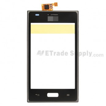 For LG Optimus L5 E610 Digitizer Touch Screen with Front Housing Replacement - Black - With Logo - Grade S+