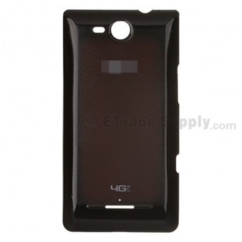 For LG Lucid VS840 Battery Door  Replacement - Red on Black- With Logo - Grade S+