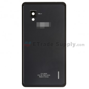 For LG Optimus G LS970 Battery Door  Replacement - Black - With Logo - Grade S+