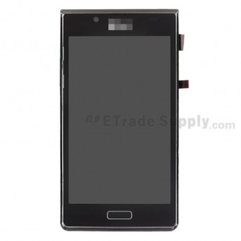 For LG Splendor US730 LCD Screen and Digitizer Assembly with Front Housing Replacement - Black - With Logo - Grade S+