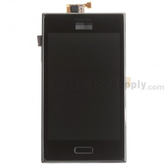 For LG Optimus L5 E610 LCD Screen and Digitizer Assembly with Front Housing  Replacement - Black - Grade S+