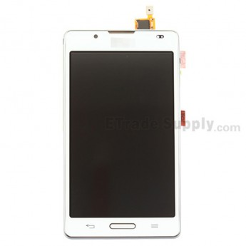 For LG Optimus L7 II P710 LCD Screen and Digitizer Assembly with Front Housing Replacement - White - With Logo - Grade S+