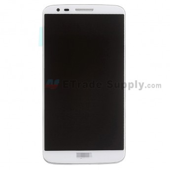 For LG G2 D802 LCD Screen and Digitizer Assembly with Front Housing and Battery Replacement - White - With Logo - Grade S+