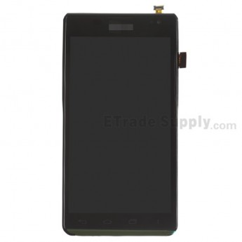 For LG Lucid 2 VS870 LCD Screen and Digitizer Assembly with Front Housing Replacement - Black - With Logo - Grade S+