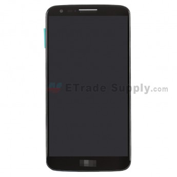For LG G2 LS980 LCD Screen and Digitizer Assembly with Front Housing and Battery Replacement - Black - With Logo - Grade S+