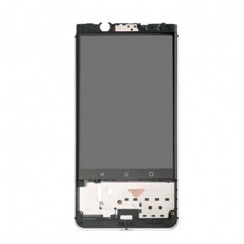 For Blackberry KEYone LCD Screen and Digitizer Assembly with Front Housing Replacement - Silver - Without Logo - Grade S+