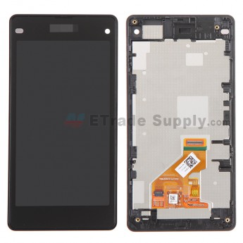 For Sony Xperia Z1 Compact LCD Screen and Digitizer Assembly with Front Housing Replacement - Black - Grade A