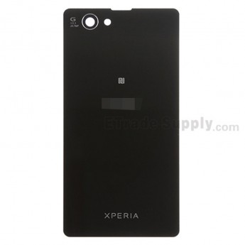For Sony Xperia Z1 Compact Battery Door Replacement - Black - With Logo - Grade S+