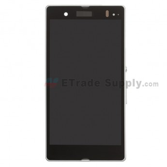 For Sony Xperia Z L36h LCD Screen and Digitizer Assembly with Front Housing Replacement - White - With Logo - Grade S+