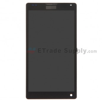 For Sony Xperia ZL L35h LCD Screen and Digitizer Assembly with Front Housing Replacement - Black - With Logo - Grade S+