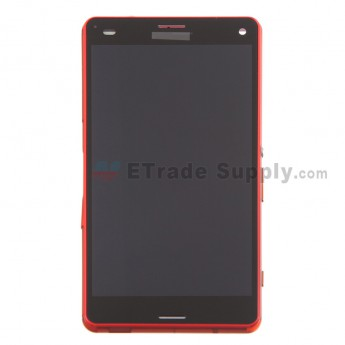For Sony Xperia Z3 Compact LCD Screen and Digitizer Assembly with Front Housing Replacement - Orange - With Logo - Grade S+