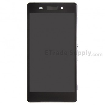For Sony Xperia Z2 LCD Screen and Digitizer Assembly with Front Housing Replacement - Black - With Logo - Grade S