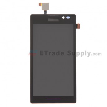 For Sony Xperia C S39h LCD Screen and Digitizer Assembly with Front Housing Replacement - Black - With Logo - Grade S+