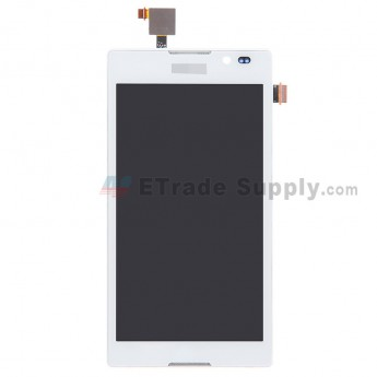 For Sony Xperia C S39h LCD Screen and Digitizer Assembly with Front Housing Replacement - White - With Logo - Grade S+