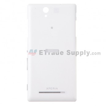 For Sony Xperia C3 Battery Door Replacement - White - With Logo - Grade S+