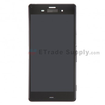 For Sony Xperia Z3 LCD Screen and Digitizer Assembly with Front Housing Replacement - Black - With Logo - Grade S+