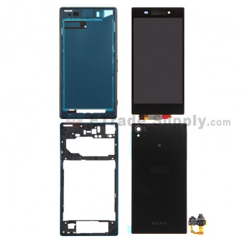 For Sony Xperia Z1 L39h LCD Screen and Digitizer Assembly with Complete Housing Replacement - Black - Grade S+