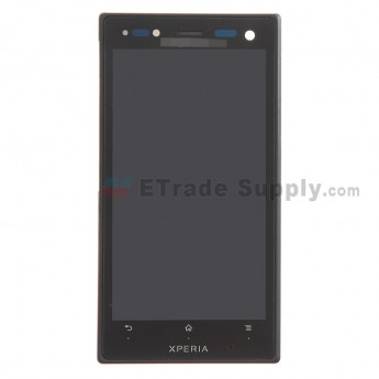 For Sony Xperia Acro S LT26w LCD Screen and Digitizer Assembly with Front Housing Replacement - Black - With Logo - Grade S+