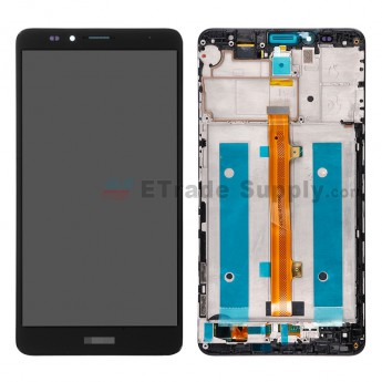 For Huawei Ascend Mate7 LCD Screen and Digitizer Assembly with Front Housing Replacement - Black - With Logo - Grade S+