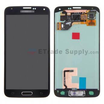 For Samsung Galaxy S5 Samsung-G900/G900A/G900V/G900P/G900R4/G900T/G900F LCD Assembly with Home Button - Black - With Logo - Grade A