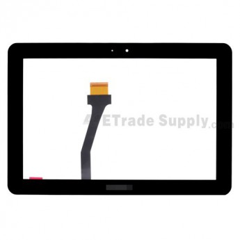 For Samsung Galaxy Tab 10.1 GT-P7500, GT-P7510 Digitizer Touch Panel with Adhesive Replacement - Black - With Logo - Grade S+