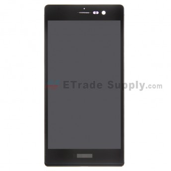 For Huawei Ascend P7 LCD Screen and Digitizer Assembly with Frame Replacement - Black - With Logo - Grade A