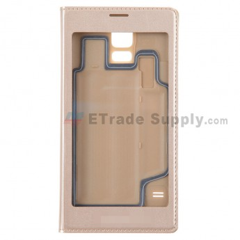 For Samsung Galaxy S5 Series S View Flip Leather Case Replacement (Full Window) - Gold - Grade R