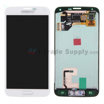 For Samsung Galaxy S5 SM-G900/G900A/G900V/G900P/G900R4/G900T/G900F LCD Assembly with Home Button - White - With Logo - Grade A