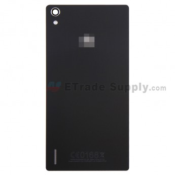 For Huawei Ascend P7 Battery Door Replacement - Black - With Logo - Grade S+