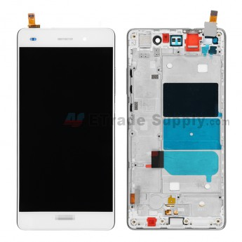 For Huawei P8lite LCD Screen and Digitizer Assembly with Front Housing Replacement - White - With Logo - Grade S+