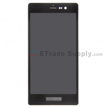 For Huawei Ascend P7 LCD Screen and Digitizer Assembly with Frame Replacement - Black - With Logo - Grade S+