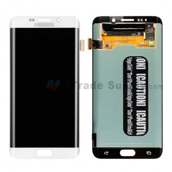 For Samsung Galaxy S6 Edge+ SamsungG928A/G928V/G928P/G928R4/G928T/G928W8 LCD Assembly Replacement - White - With Logo - Grade S