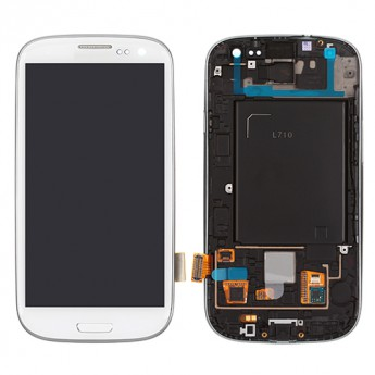 For Samsung Galaxy S III SPH-L710 LCD Screen and Digitizer Assembly with Front Housing Replacement - White - Grade S+