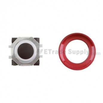 BlackBerry Pearl 8100,8300,8800,8220,9000 Black Trackball and White Inner Ring Assembly with Outer Ring ,Dark Red