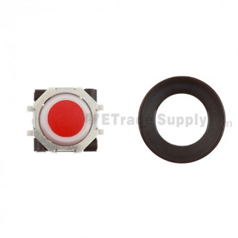 BlackBerry Pearl 8100,8300,8800,8220,9000 Red Trackball and White Inner Ring Assembly with Outer Ring ,Black