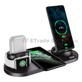 For 6 in 1 multi-function wireless Charging dock Stand for Apple Watch/AirPods/iPhone/Android phone - Grade S+ (0)
