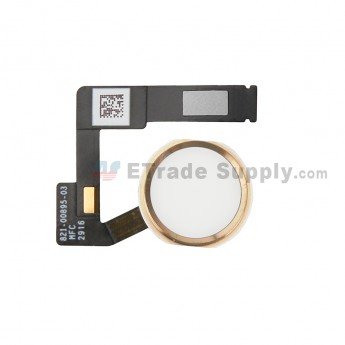 For Apple iPad Pro 12.9 (2nd Gen) Home Button Assembly with Flex Cable Ribbon Replacement - Gold - Grade S+ (0)