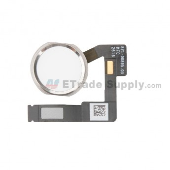 For Apple iPad Pro 12.9 (2nd Gen) Home Button Assembly with Flex Cable Ribbon Replacement - Silver - Grade S+ (0)