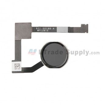 For Apple iPad Pro 12.9 Home Button Assembly with Flex Cable Ribbon Replacement - Black - Grade S+ (0)