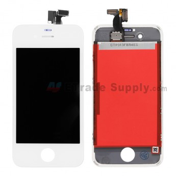 For Apple iPhone 4S LCD Screen and Digitizer Assembly with Frame Replacement - White - Grade S+ (1)