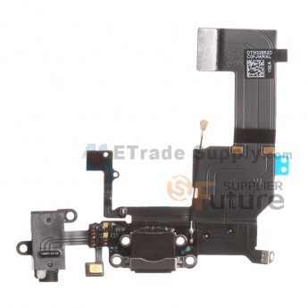 For Apple iPhone 5C Charging Port Flex Cable Ribbon Replacement - Black - Grade R (0)