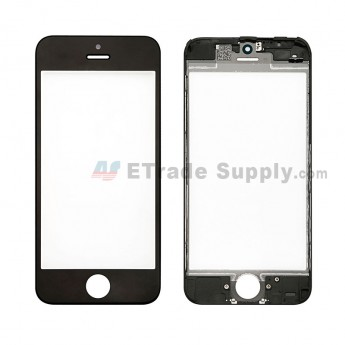 For Apple iPhone 5C Glass Lens with Frame Replacement - Black - Grade S+ (0)