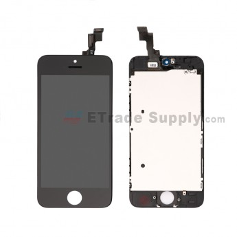 For Apple iPhone 5S LCD Screen and Digitizer Assembly with Frame Replacement - Black - Grade S (15)