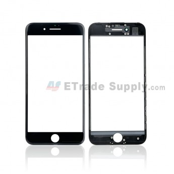 For Apple iPhone 7 Glass Lens with Frame and Optical Clear Adhesive Replacement - Black - Grade S+ (0)