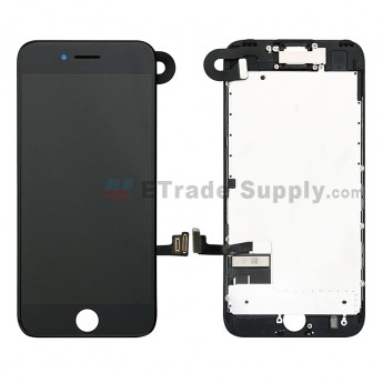 For Apple iPhone 7 LCD Screen and Digitizer Assembly with Frame and Small Parts (Without Home Button) Replacement - Black - Grade S+ (0)