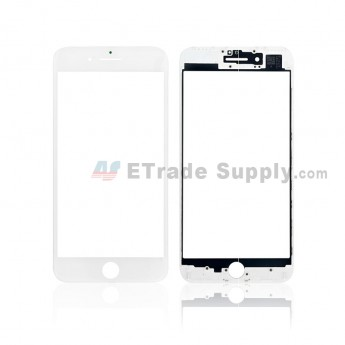 For Apple iPhone 7 Plus Glass Lens with Frame and Optical Clear Adhesive Replacement - White - Grade S+ (0)